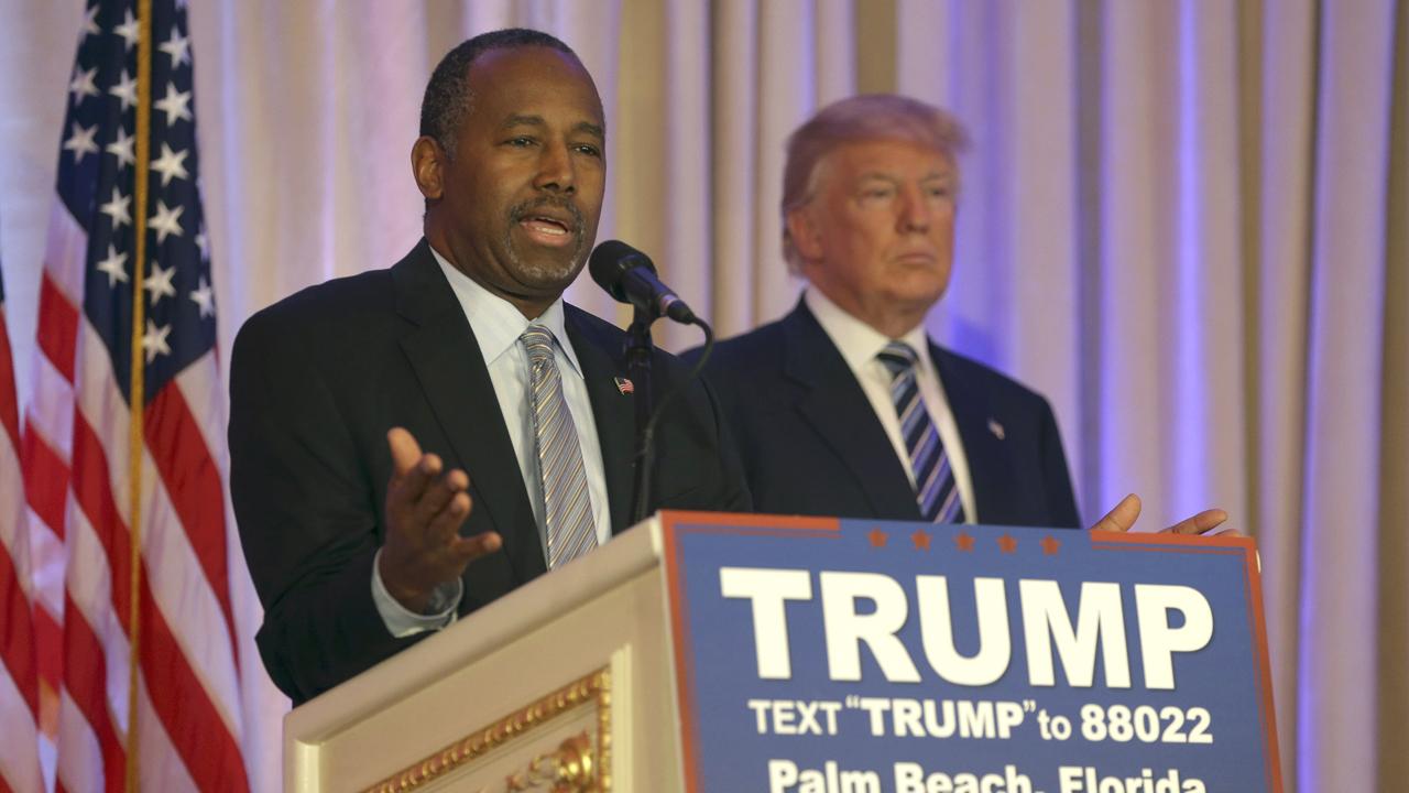 Former Republican presidential candidate Ben Carson endorses Donald Trump.