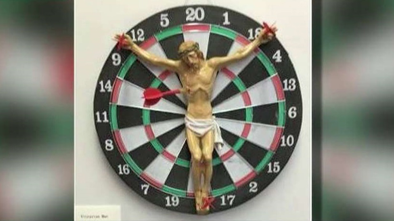 What the hell? Artist crucifies Jesus on dartboard