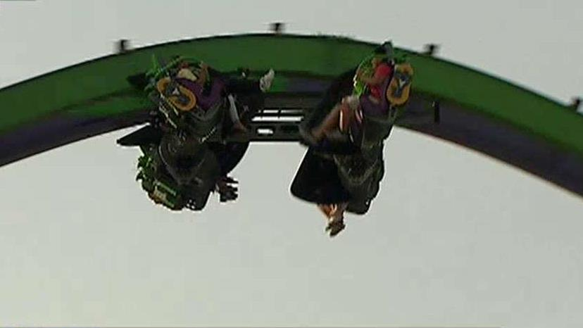 RollerCoaster! Magazine Editor Tim Baldwin and FBN's Cheryl Casone test out 'The Joker,' the new roller coaster at Six Flags Great Adventure.