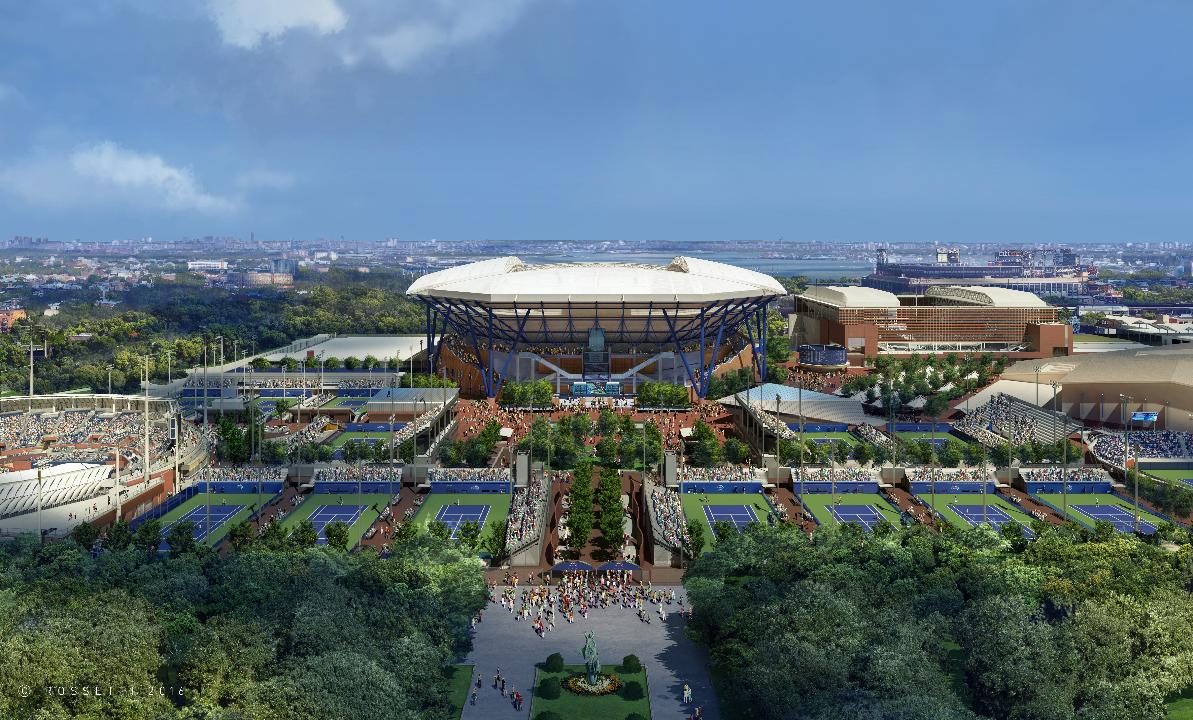 The home of the US Open, the Arthur Ashe Stadium literally raises the roof.