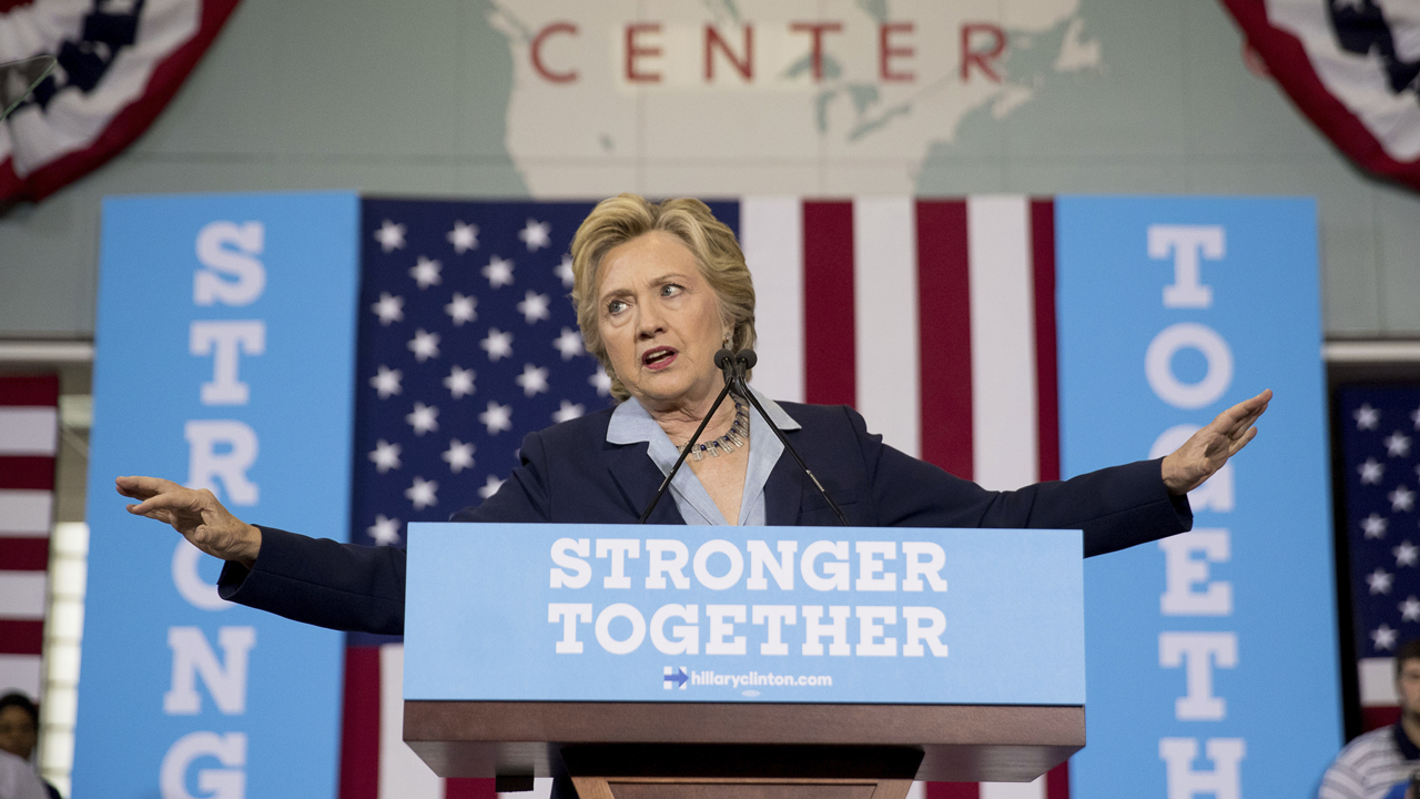 Democratic presidential nominee Hillary Clinton blasts Republican presidential nominee Donald Trump, saying he has treated contractors poorly in the past.