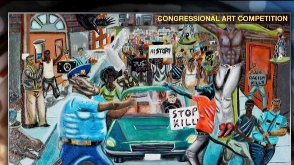 Rep. Duncan Hunter (R-CA) discusses the partisan dispute over a controversial painting that depicts police officers as animals.