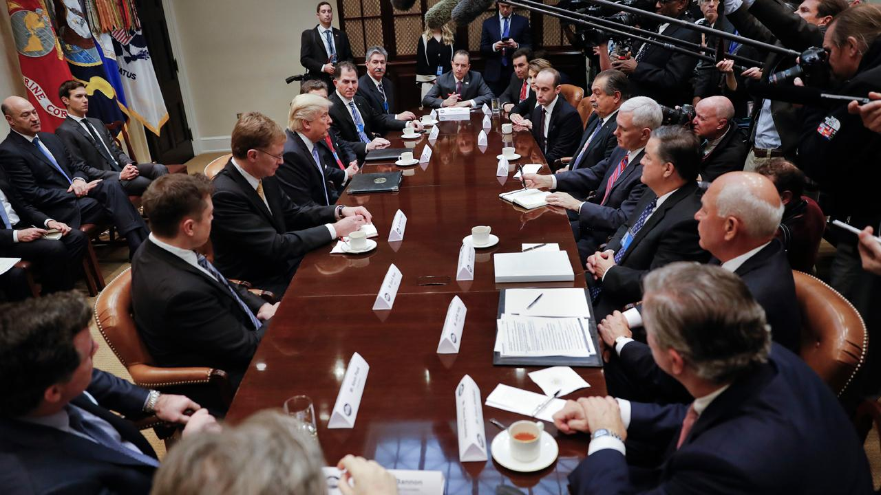 Dow Chemical CEO Andrew Liveris and Ford CEO Mark Fields on their meeting with President Trump and other business leaders.