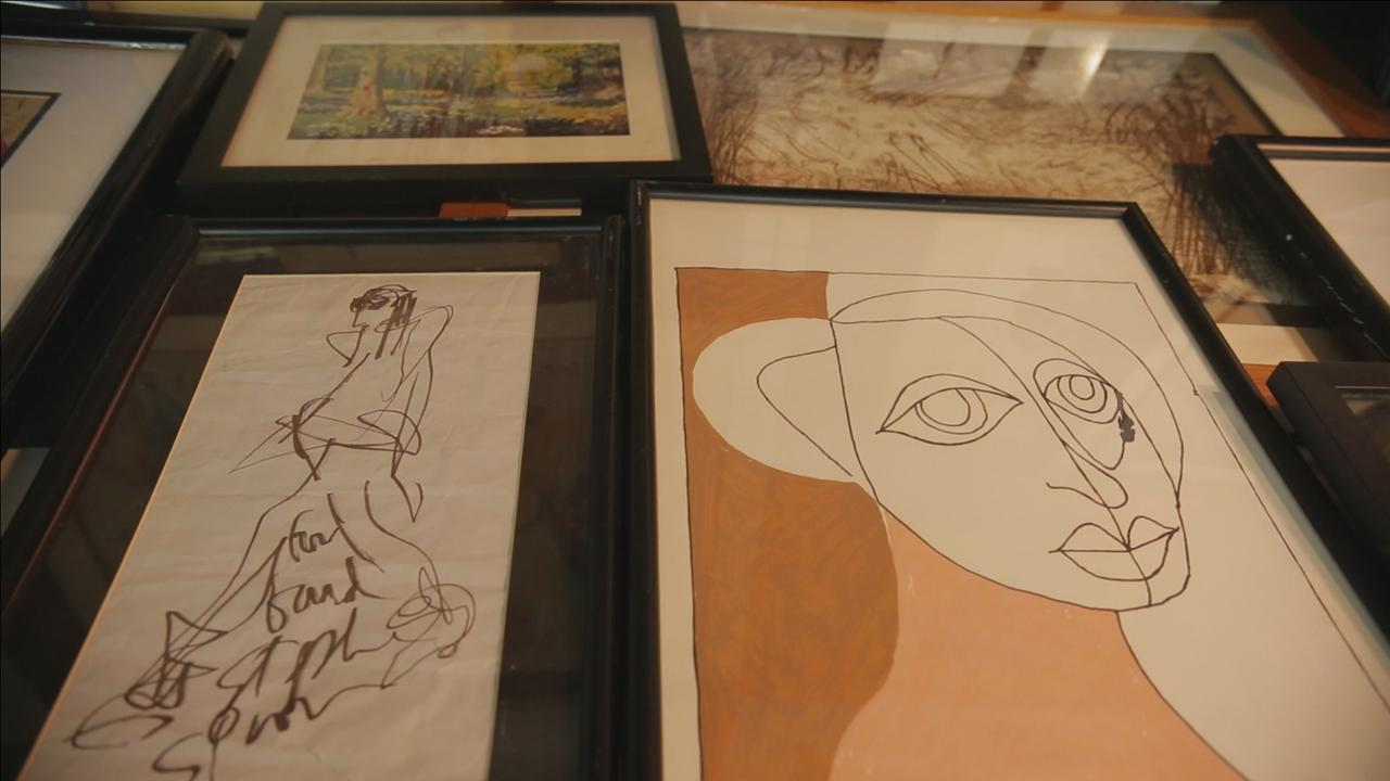 Pennsylvania man inherits hundreds of paintings by celebrities from Ringo Starr and Bob Dylan to John Gotti and Adolf Hitler.