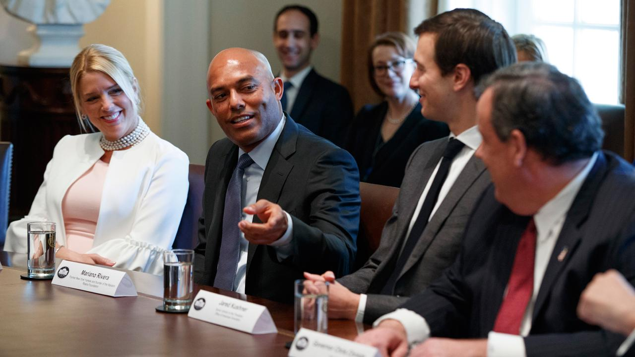 Former New York Yankees legend Mariano Rivera participates in President Trump opioid and drug abuse listening session at the White House.