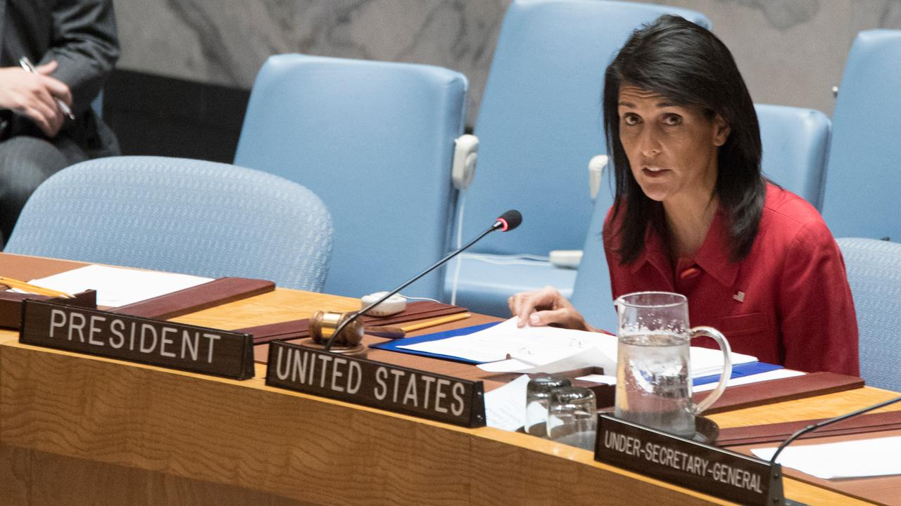 U.S. Ambassador Nikki Haley addresses the United Nations following the U.S. strike on Syria.