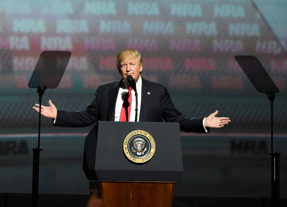 President Trump puts MS-13 and other gangs on notice during a speech at the National Rifle Association Leadership Forum in Atlanta.