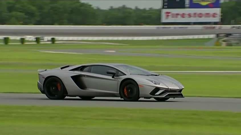 FoxNews.com Automotive Editor Gary Gastelu test drives the Lamborghini Aventador at the Pocono Raceway.