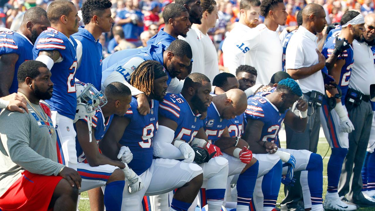 FBN's Stuart Varney on the left and NFL anthem protests.
