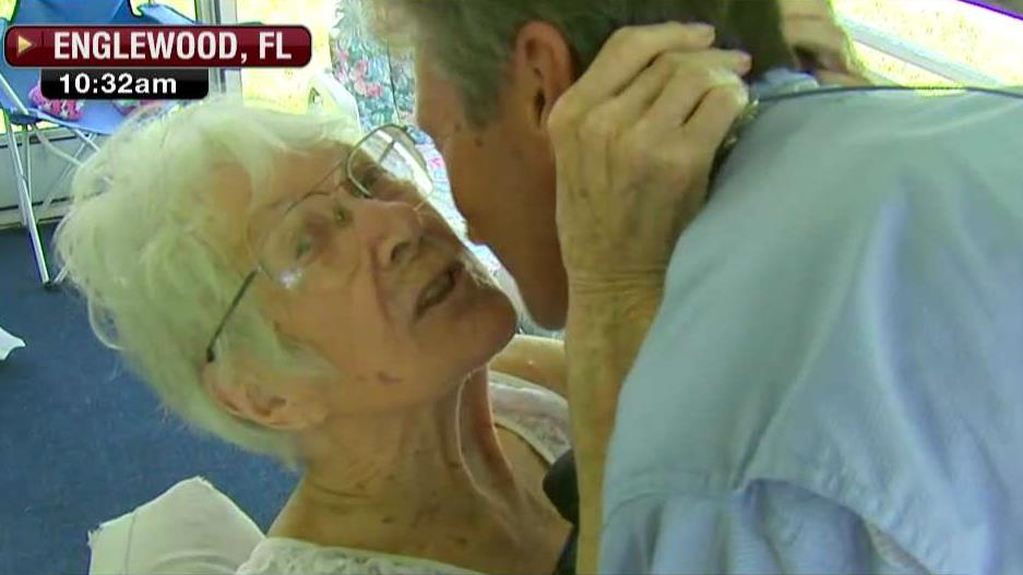 FBN's Jeff Flock surprises his mother in Englewood, Florida after Hurricane Irma.
