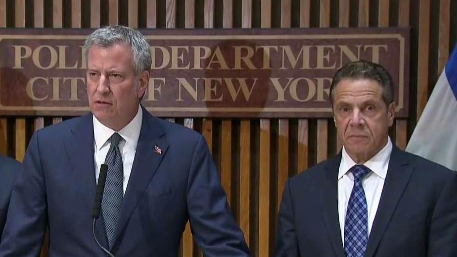 New York City Mayor Bill De Blasio holds a press conference about the incident that killed at least eight people in lower Manhattan Tuesday, shutting down New York's financial district.