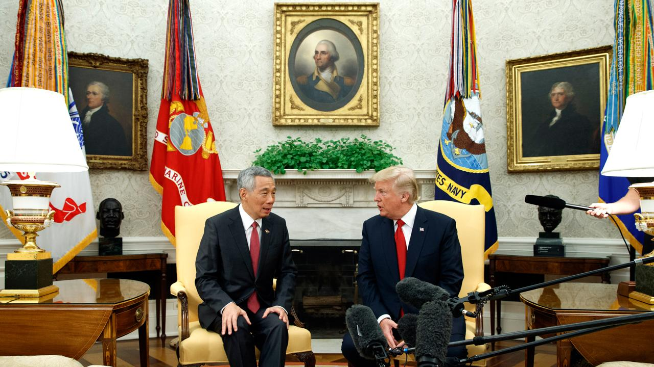 President Trump held a joint statement with Singapore Prime Minister Lee Hsien Loong to discuss U.S.-Singapore relations and business deals.