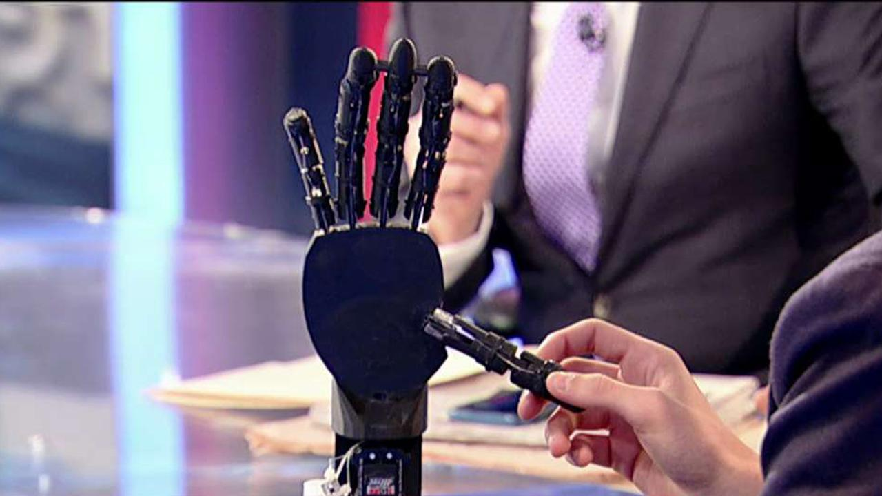 During an interview with FOX Business' Stuart Varney, 15-year-old Stephane Hatgis-Kessell and Chancellor Stephen Spahn discuss what the student plans to do with the cheap prosthetic hands he figured out how to manufacture.