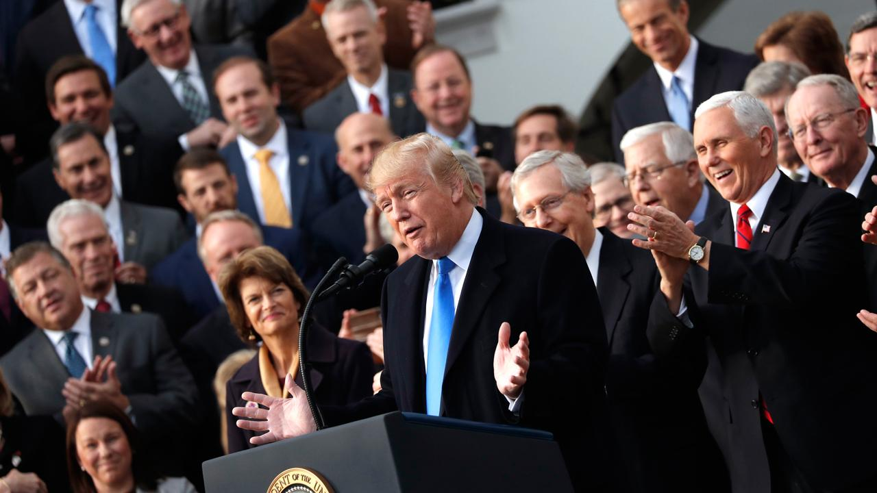 President Donald Trump addresses Congress passing tax reform in a GOP victory lap celebrating the legislation.