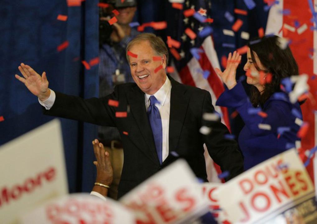 Democrat Doug Jones speaks to crowd after winning the Alabama special election.