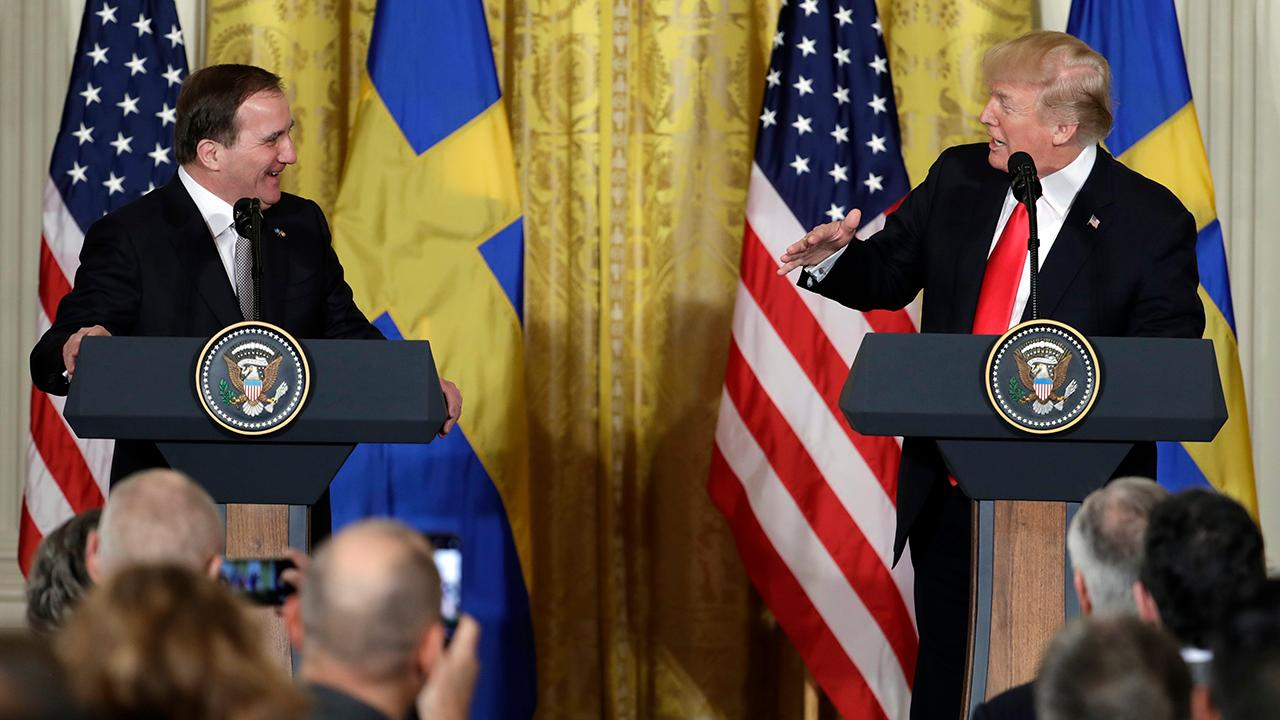 President Trump and Swedish Prime Minister Stefan Lofven discuss the potential consequences of the administration's plan to impose tariffs on steel and aluminum imports during a joint press conference.