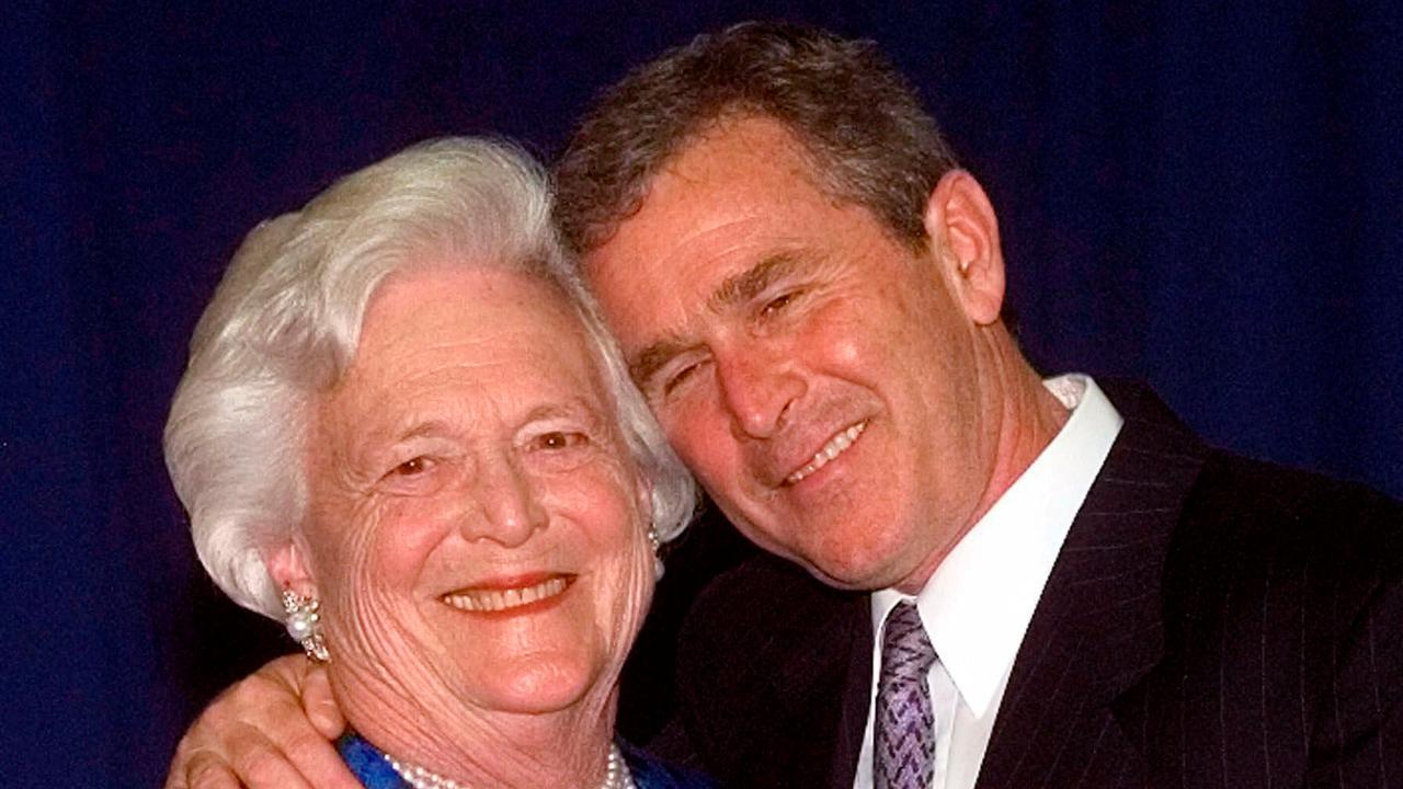 President George W. Bush and first lady Laura Bush on the death of former first lady Barbara Bush.
