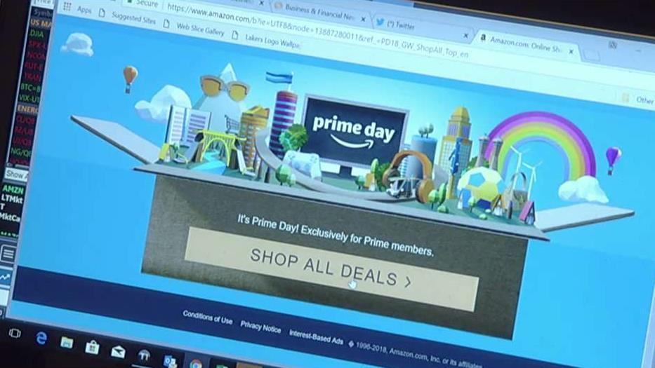 Amazon's website was hit with a glitch during the e-commerce giant's 2018 Prime Day. FOX Business' Hillary Vaughn reports on how retailers are trying to beat Amazon on its big day.