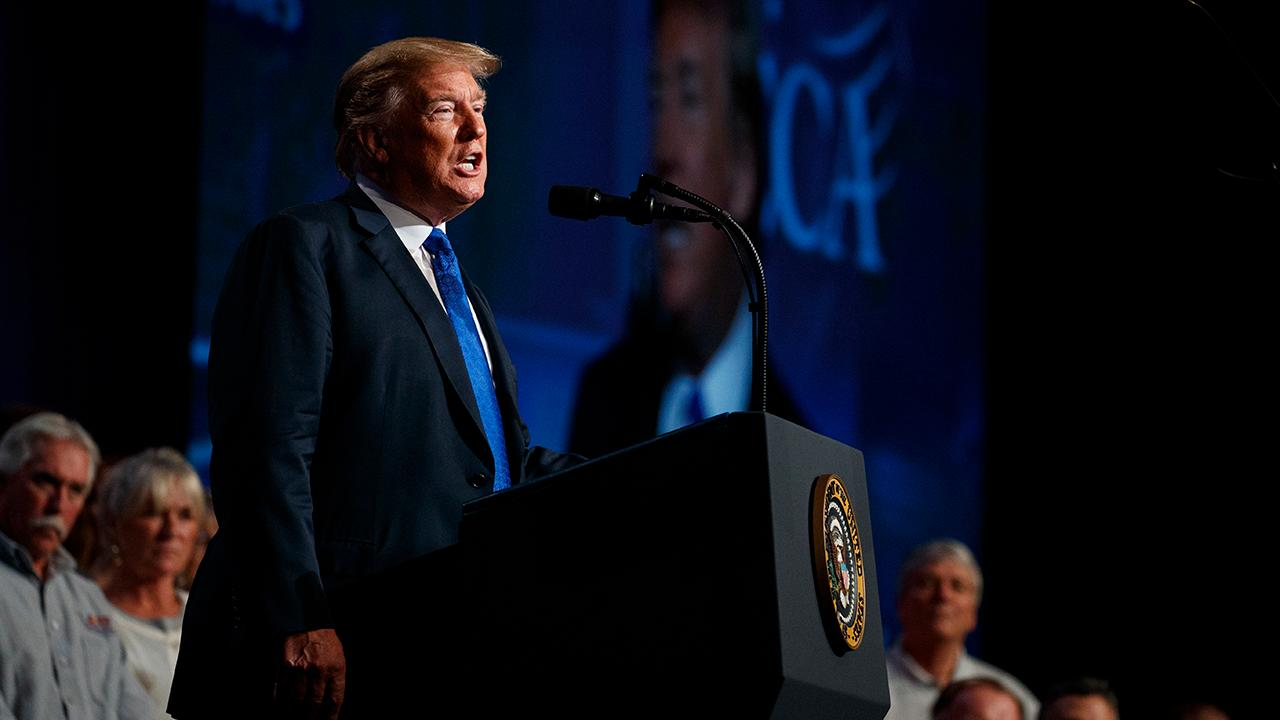 President Donald Trump touts the strength of the U.S. economy to workers at the National Electrical Contractors Association Convention in Pennsylvania.