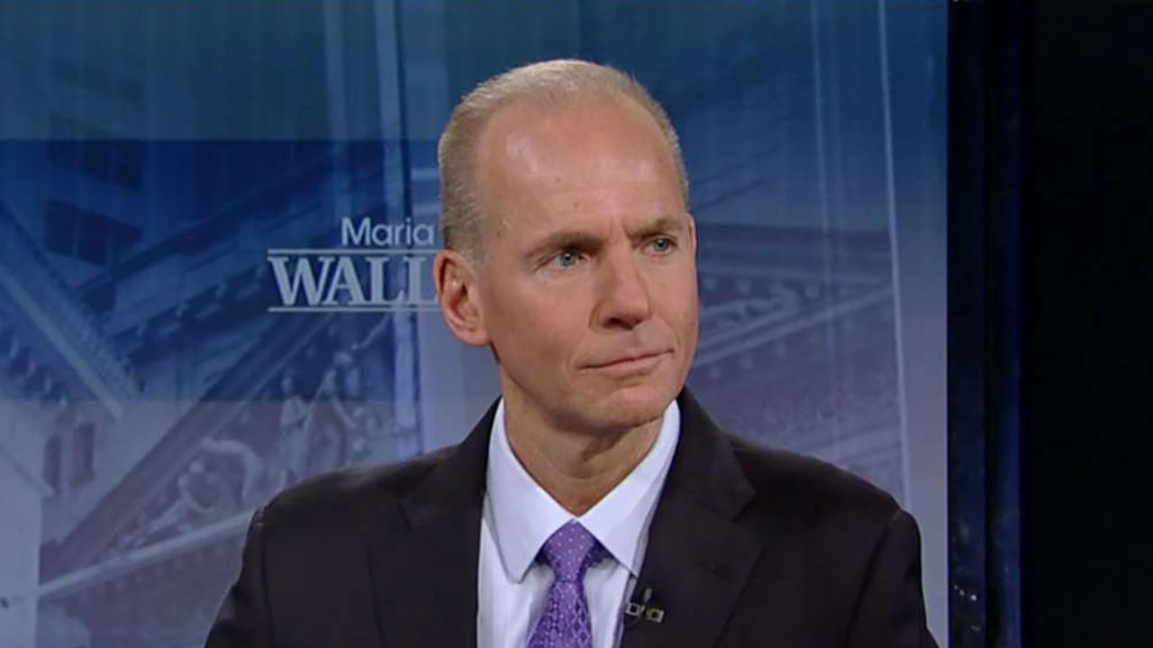 Boeing CEO Dennis Muilenburg discusses how the Federal Reserve's interest rate hikes are impacting his company and the company's growing global services business.<br>