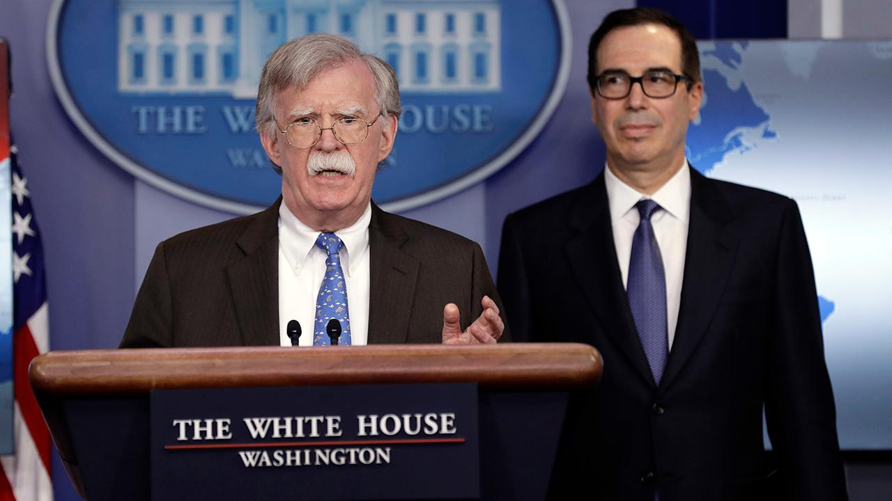 National Security Adviser John Bolton and Treasury Secretary Steven Mnuchin announce sanctions against Venezuela state-owned oil company PDVSA and embattled president Nicholas Maduro.
