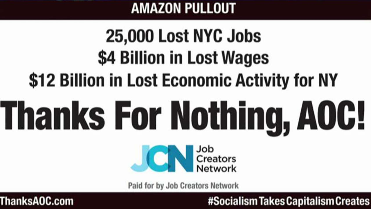 Job Creators Network President Alfredo Ortiz discusses his company's new billboard, which slammed Rep. Alexandria Ocasio-Cortez (D-N.Y.) for helping to push Amazon out of New York City.