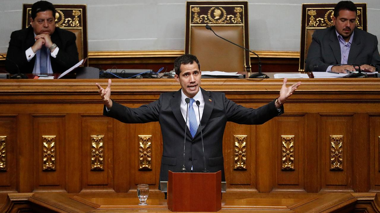 "Venezuelan opposition leader Juan Guaidó discusses how Venezuela's opposition-run Congress declared a ""state of alarm"" over the recent blackouts and invited Rep. Alexandria Ocasio-Cortez (D-N.Y.) and Rep. Ilhan Omar (D-Minn.) to see the humanitarian crisis for themselves."