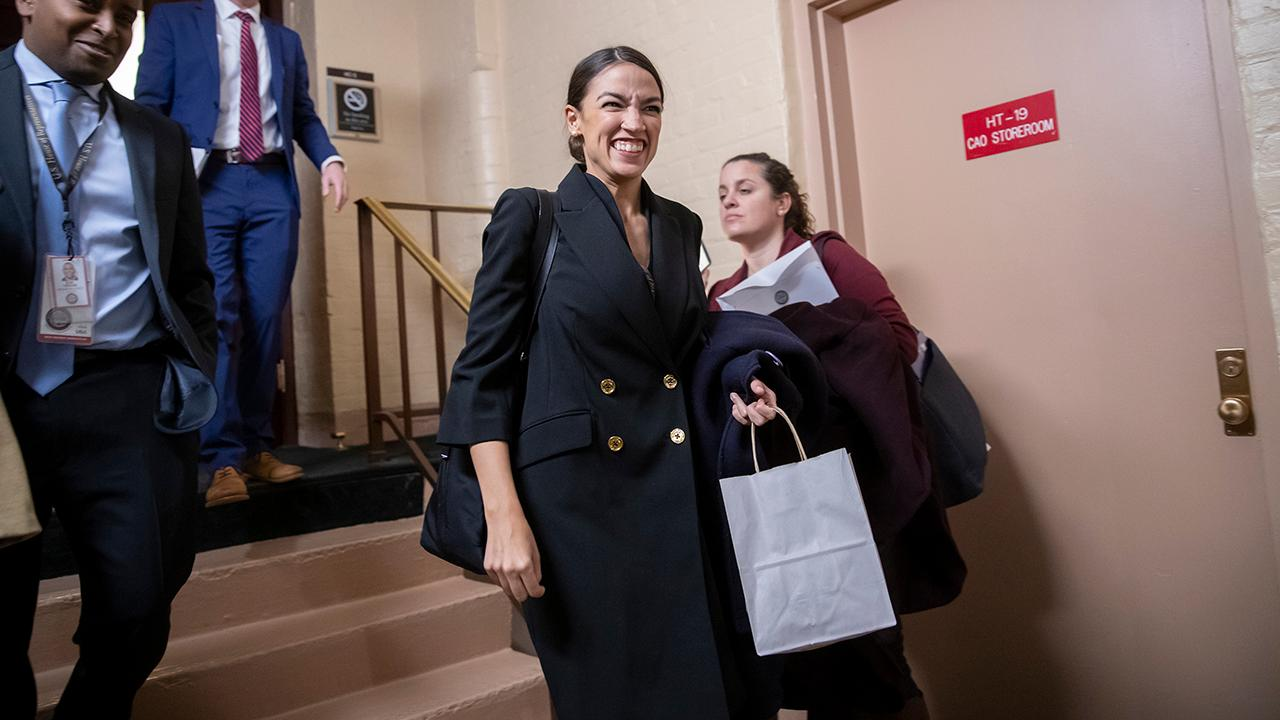 """""""The Greg Gutfeld Show"""" correspondent Kat Timpf, District Media Group President Beverly Hallberg and MaxFunds.com co-founder Jonas Max Ferris on Rep. Alexandria Ocasio-Cortez's Green New Deal and how President Trump slammed the deal during his speech at CPAC."""