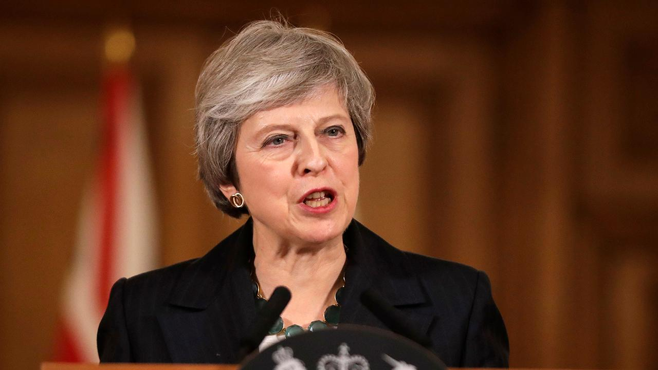 British Prime Minister Theresa May speaks after Parliament voted against a no-deal exit.