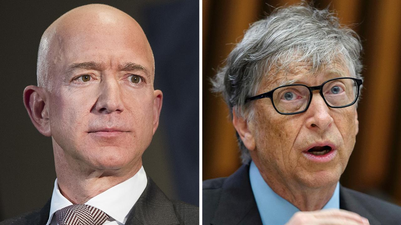 "<a data-cke-saved-href=""https://www.foxbusiness.com/foxbusiness.com/tag/bill-gates"" href=""https://www.foxbusiness.com/foxbusiness.com/tag/bill-gates"">Morning Business Outlook: Microsoft co-founder Bill Gates reportedly joins Amazon CEO Jeff Bezos as the only two people worth at least $100 billion; Peloton hit with lawsuit for allegedly using music without permission.</a>"