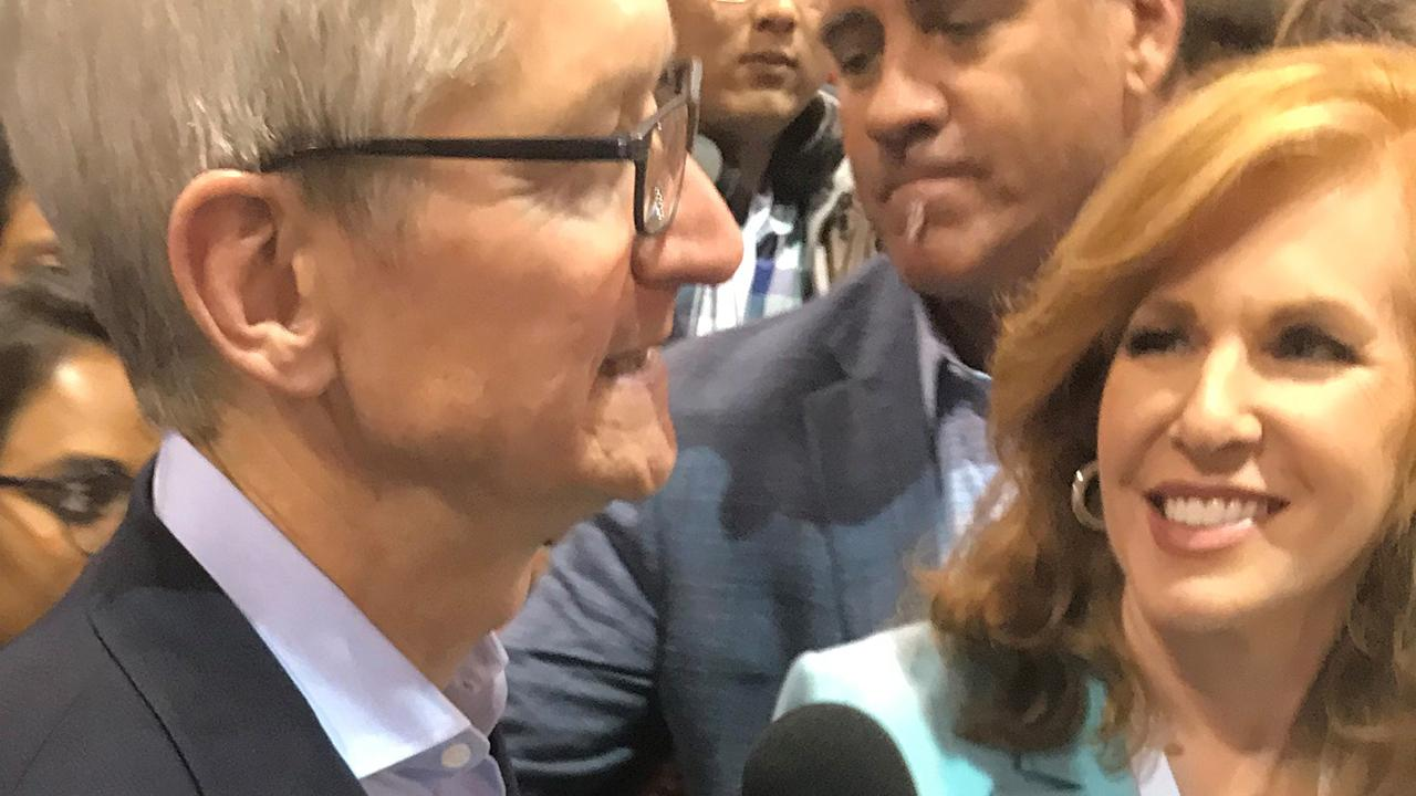 "FOX Business' Liz Claman talks to Apple CEO Tim Cook about the lessons he's learned from Berkshire Hathaway CEO Warren Buffett and says he's ""thrilled"" that Buffett owns Apple shares."