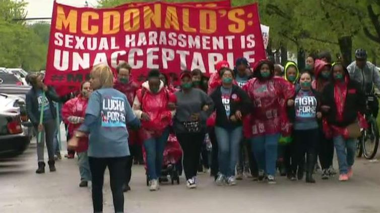 FBN's Jeff Flock on the protest outside of the McDonald's headquarters over sexual harassment allegations.