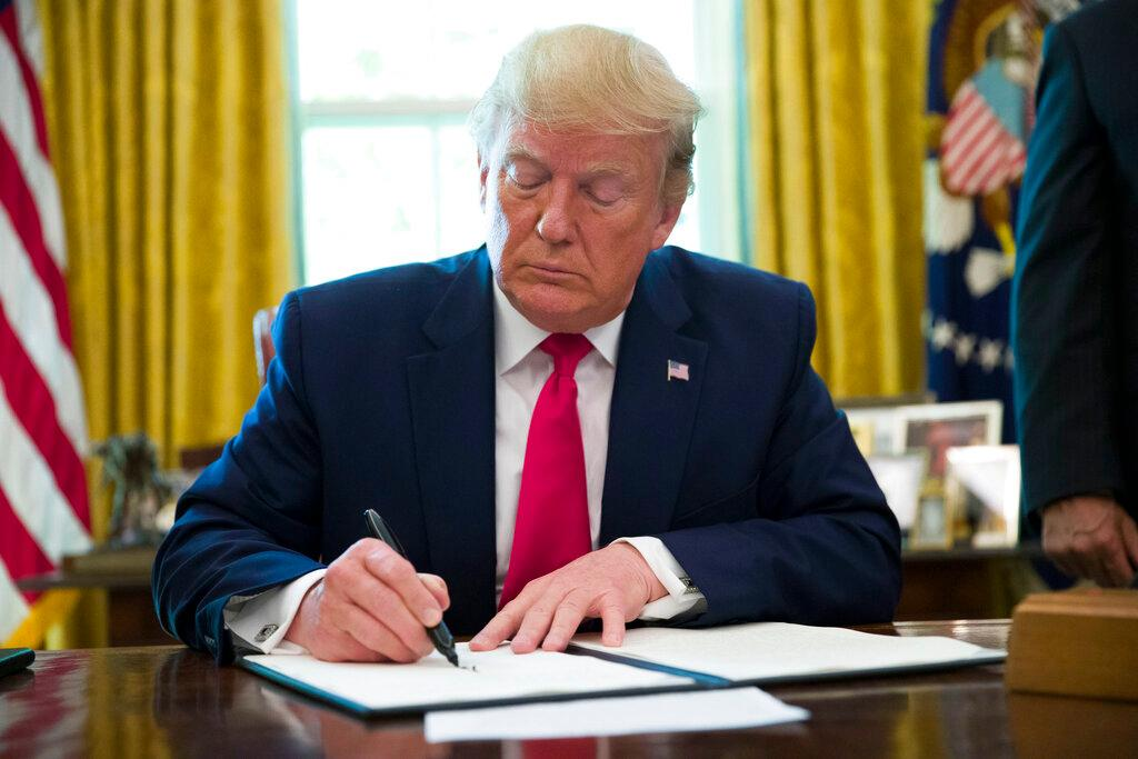The president on Monday, June 24, 2019 signed an Executive Order imposing sanctions on Iran in response to a US drone that was shot down in the previous week.