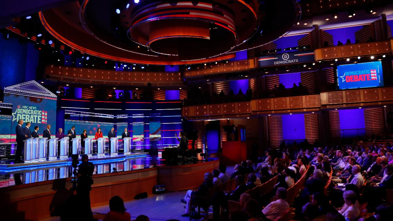 Fox News' Ed Henry discusses the first Democratic debate in which former Vice President Joe Biden, the frontrunner in the polls wasn't mentioned, but candidates addressed issues such as taxes, Medicare-for-All and the Green New Deal.
