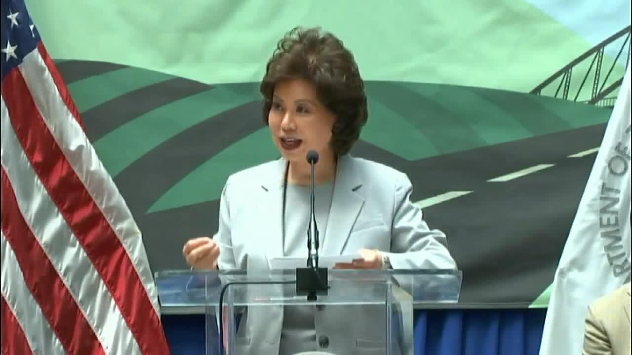 U.S. Secretary of Transportation Elaine Chao discusses the benefits of infrastructure grants.