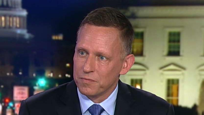 Billionaire investor Peter Thiel tells Fox News' Tucker Carlson why Google is working with the Chinese and not the U.S. where it is headquartered in Silicon Valley.