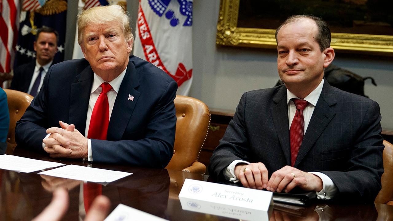 President Trump on calls for Labor Secretary Alex Acosta's resignation amid renewed concerns of his handling of sex abuse charges involving Jeffrey Epstein.