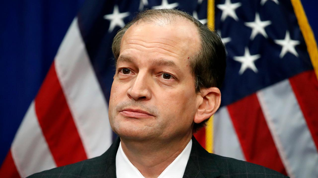 Labor Secretary Alexander Acosta speaks to reporters after facing criticism over his handling of the Jeffrey Epstein case in 2008.