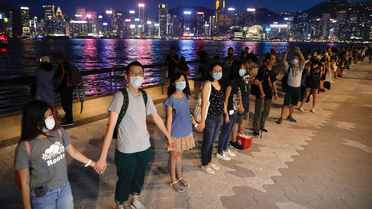Crowds gather during an event in the central heart of Hong Kong.