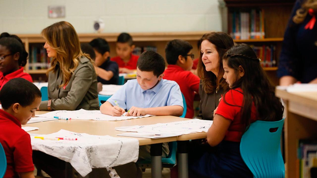 First Lady Melania Trump and Second Lady Karen Pence visited an elementary school to talk to them about how to prepare for an emergency.