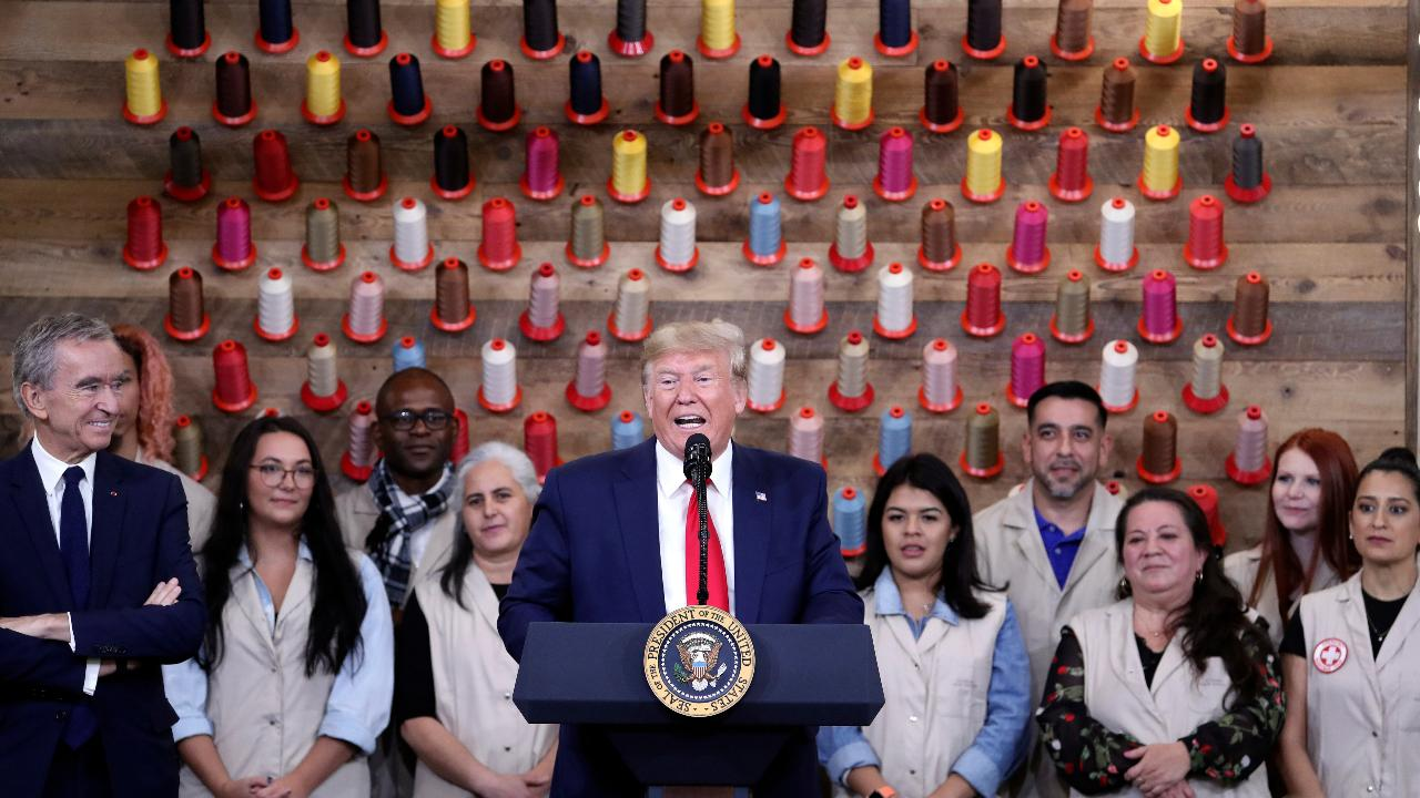 President Trump celebrates the opening of the new Louis Vuitton store in Alvarado, Texas.