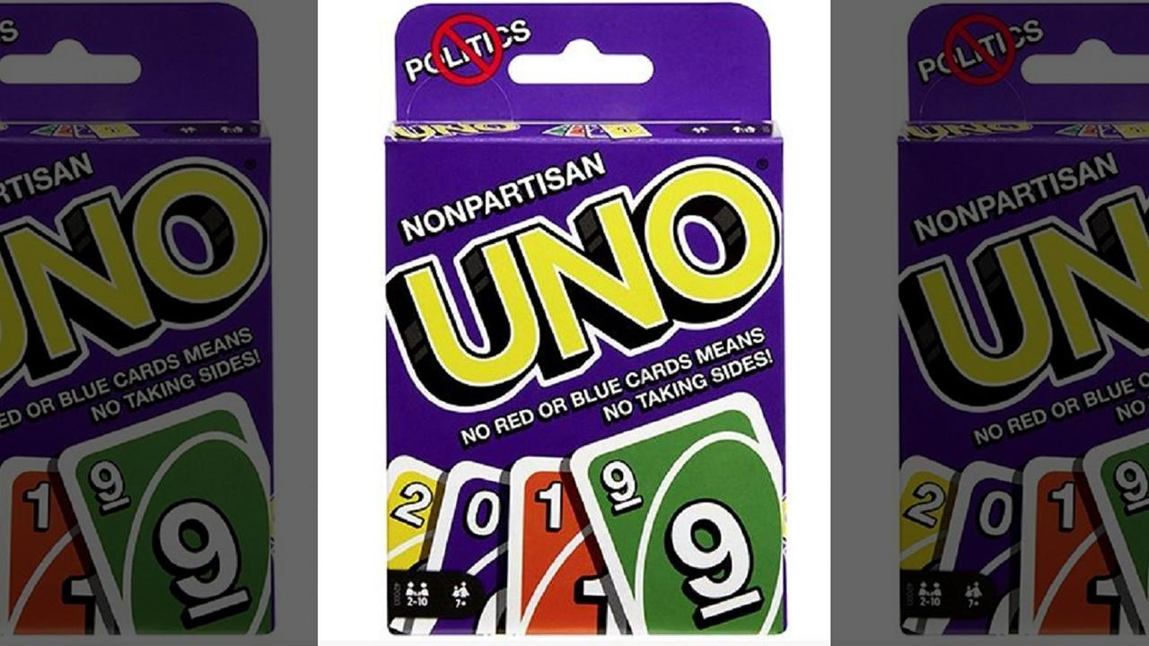 "Mattel is offering a ""nonpartisan"" UNO deck with no red and blue cards."