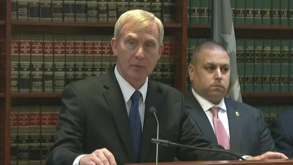 United States Attorney for the Eastern District of New York Richard P. Donoghue holds a press conference regarding a Long Island-based company charged with illegal importation and sale of Chinese-made surveillance and security equipment to U.S. government agencies and private customers.