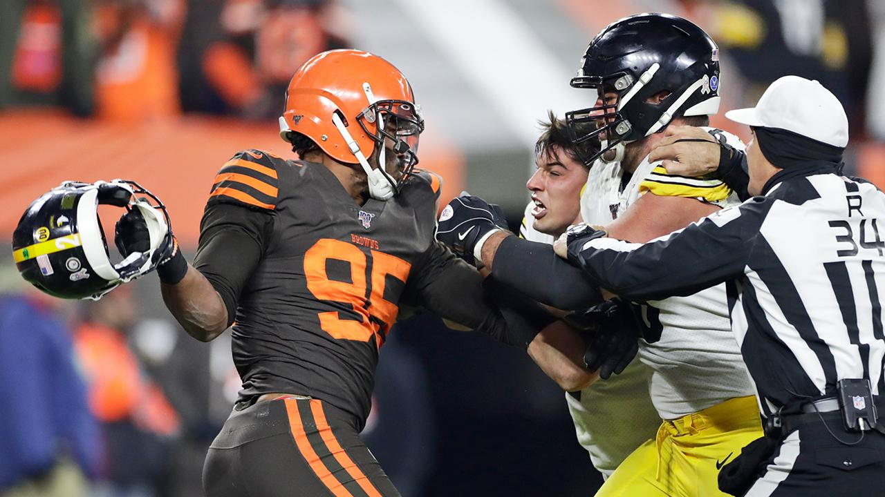 Retail analyst Hitha Herzog discusses Cleveland Browns' Myles Garrett swinging a helmet at Pittsburgh Steelers' Mason Rudolph and how the sports world – and sponsors – are reacting.