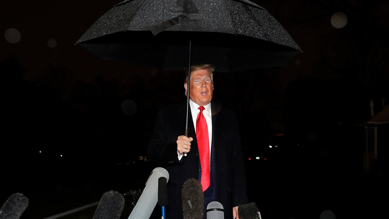 President Trump speaks to reporters outside of the White House about the Democrats approved the USMCA.