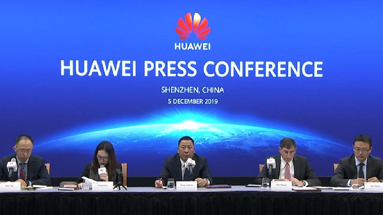Huawei's chief legal officer Song Liuping speaks at a press conference and says the company has filed a petition to overturn the FCC's decision to label the Chinese company as a 'national security threat.'
