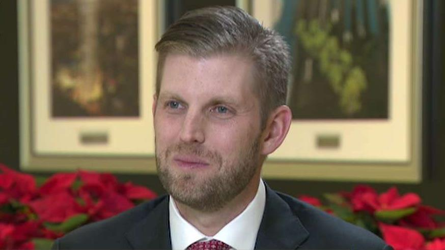 Trump Organization executive vice president Eric Trump discusses the accomplishments of his father and the current 2020 Democratic candidates.
