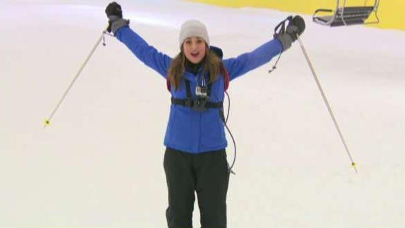 FOX Business' Kristina Partsinevelos hits the slopes at the American Dream Mall in New Jersey.