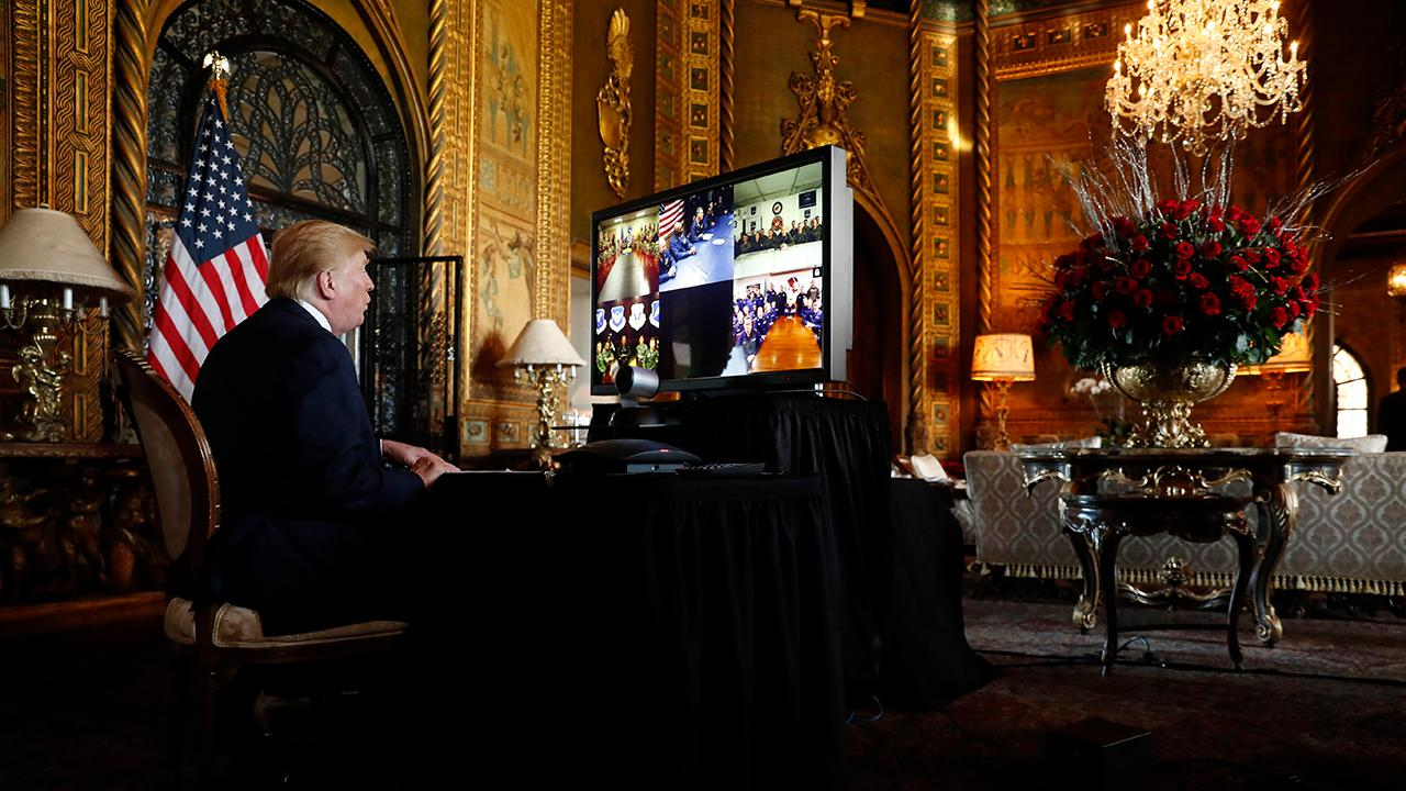 President Trump teleconferenced with multiple members of the military Christmas Eve morning to wish them a merry Christmas.