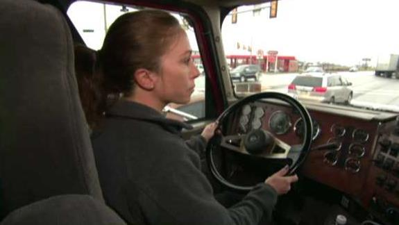 FOX Business' Tracee Carrasco talks to truck driver Liz Myers about more women getting behind the wheel.